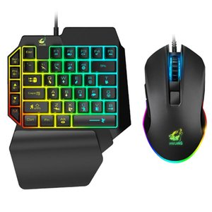 Gaming Keyboard Set Accessoires PC Clé USB Téléphone mobile à une main ergonomique Portable ergonomique LED Backlight 41 Touches Maison Wired Souris RVB