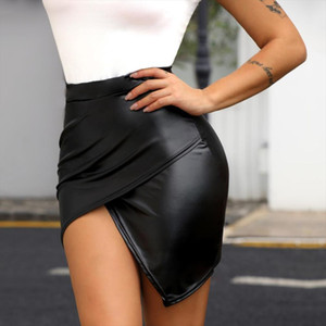 2020 Mulheres Moda Sexy Black Envoltório Sólido Assimétrico Bodycon Skirt Slim Fit Cintura Alta Surplice Pu Slinky Skirt