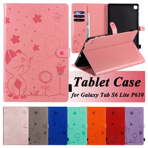 PU Leather Tablet Case for Samsung Galaxy Tab A T290 T387 T510 S6 T860 Lite P610 iPad Pro 10.5 9.7 Cat & Bee Embossing Flip Stand Cover Case