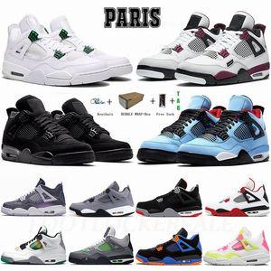 Zapatillas de baloncesto Nike Air Jordan Retro Metallic 4s 4 Bred What The Neon Cactus Jack Black Cat Cool Grey Hombre Zapatillas de deporte Mujer Zapatillas de deporte