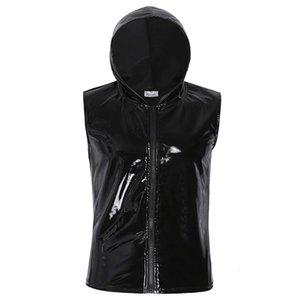 Cool Hommes Black Mode Look humide Cuir Sweet Sweat à capuche Hoodwear Hip Hip Hop T -shirt Débardeur avec fermeture à glissière Homme Homme Vêtements