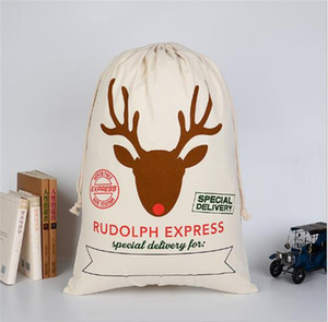 Hot sale Chrismas Gifts Drawstring Canvas Santa Sacks Christmas Large Canvas Monogrammable Santa Claus Drawstring Bag with Reindeers