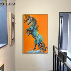 Moderne orange Résumé Affiches de chevaux et des animaux Toiles d'art Peintures murales Photos pour Salon Home Decor