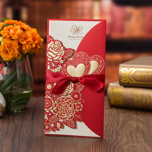 Red Sweetheart Flower Embossed Wedding Cards Blue Gold White Laser Cut Personalized Print Invitations for Business Anniversary with Bow