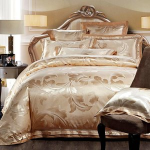 4 6pcs Gold Jacquard Satin bedding set king queen Luxury Tribute Silk quilt duvet cover bed linen bedclothes set home textile