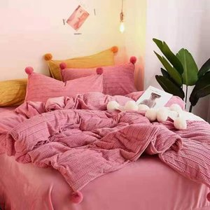 핑크 옐로우 블루 벨벳 양털 소녀 침구 세트 퀸 사이즈 침대 침대 장착 된 Pillowcases 시트 따뜻한 겨울 이불 린넨 cover1