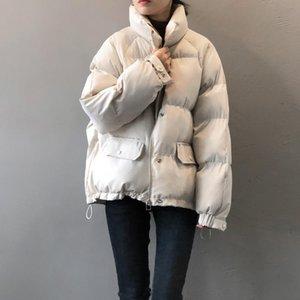 Kalın Parka Kadınlar Sonbahar Kış Yansıtıcı Fermuar Sprey Gümrüklü Gövdelik Ceket Katı Ceket Abrigos Mujer Invierno Haajuku Korece