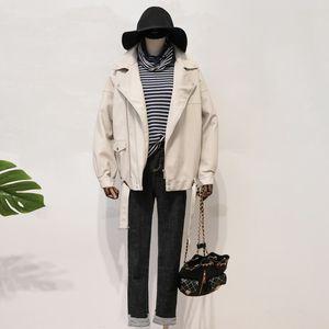 2021 New Autumn Women Faux Soft Leather Jacket with Belt Female Down Collar Moto Biker Black Coat M078