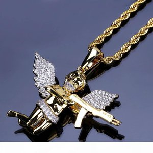 18K Gold Plated Pendant Necklaces Luxury Exquisite Grade Quality Zircon Paved Angel and Gun Hip Hop Necklaces Jewelry Wholesale LN150