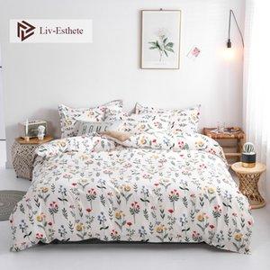 LIV-ESTHETE الأزياء زهرة الفراش مجموعة غطاء لحاف بسيط المفرش ورقة مسطحة المخدة واحدة مزدوجة الملكة الملك السرير الكتان C1018