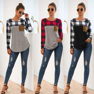패션 격자 무늬 O-목 T 셔츠 가을 예쁜 패치 워크 컬러 스웨터 여성 캐주얼 풀오버 새 스타일 여성 스웨터 최고의 품질 의류