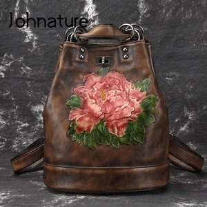 Johnature 2020 New Vintage Large Leather Leisure Floral Softback Retractable Embossing Women Backpack Shoulder Bags Q1113