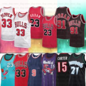 NCAA Nort Tar 23 Michael JERSEY 33 Scottie ChicagoBull Pippen 91 Dennis Rodman Kevin Carter 15 collège Vince Garnett Jersey Basketball