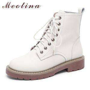 Meotina Doğal Gerçek Deri Çizme Yün Kürk Kış Bilek Boots Düşük Topuk Motosiklet Boots Kadınlar Lace Up Gerçek Deri Ayakkabı C1023