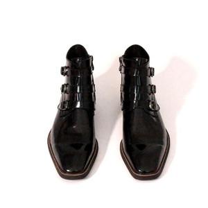 Italie main des hommes de piste peinture Bottes cheville boucle Bureau formel travail Chaussures de sécurité luxe véritable Cuir de vachette Toes Bottes