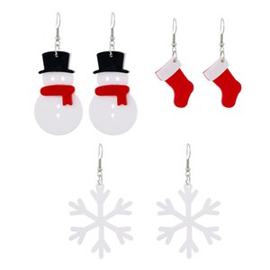 New style lovely Christmas jewelry geometric Snowflake Snowman Christmas Stocking drop earrings with women's acrylic fashion accessories