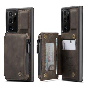 Case Choque à prova de choque de couro fosco caça slots carteira de carteira para Samsung Galaxy Nota 20 Ultra S20 Fe S20 Ultra Note10 S10 A71 S9