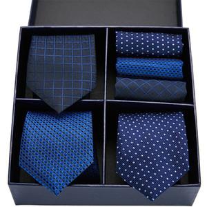 Men's Tie Set Classic 7.5cm Necktie and Handkerchief Set Yellow Green Black Paisley Ties Pocket Square For Men Wedding