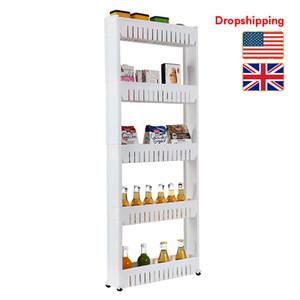 Stock in US UK Kitchen Storage Shelves with Wheel Portable 5 Layer Plastic Slim Storage Tower Rack Organizer White Dropshipping