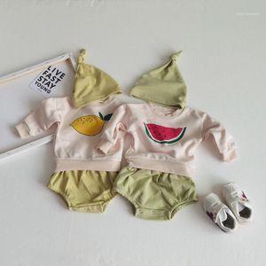 Infant Newborn Baby Girls Boys Spring Fall Cartoon Watermelon Printed Clothes Long Sleeve Sweatshirt+ Shorts+hat 3PCs Outfits1