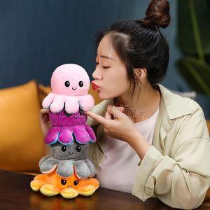 2021 Reversible Flip Octopus Stuffed plush toys 10*20cm Stuffed Animals Cute flipped octopus doll Lighted Child Toy