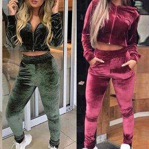 2020 Womens Samt Stoff Trainingsanzug Langarm Hoodies Mantel Frühling Fall Sport Anzüge Velours Hosen Frauen Track Anzug Hosen