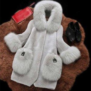 Fengguilai Fashion Fur Coat Winter Long Sleeves Long Coat Jacket Women Faux Fur Coats Outerwear T200915