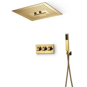 Bagno Ti-PVD Oro rubinetto doccia Set Showeheads a LED da 16 pollici di pioggia di sistemi di acqua calda e fredda Ottone Mixer Valvole