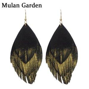 الطبقات MG ثلاثة الذهب الشرابة الماعز حقيقية جلد النساء أقراط الطبيعة الريشة أزياء أنيقة تعلق أقراط مجوهرات جلدية