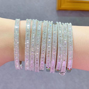 Fashion noble Diamond Sterling Silver 18 K gold glittering bracelet for female party Engagement Wedding lover gift jewelry with box