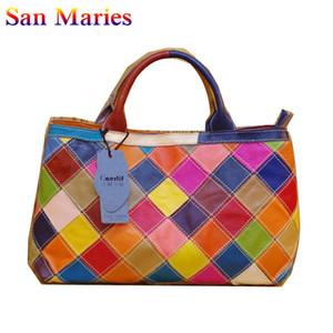San Maries 2020 del cuoio genuino borse Borsa variopinta signore della rappezzatura Shoulder Bags di donne femminile corssbody Tote Bag