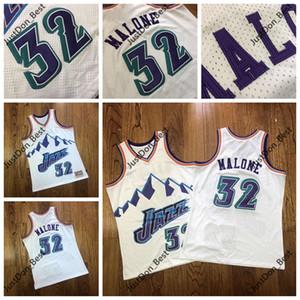 Mens Throwback UtahJazzJerseys Karl Malone 32 Stockton White Mitchell & Ness Stitched HardwoodsClassics Jerseys camisetas