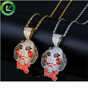 Hip Hop Jewelry Iced Out Pendant Luxury Designer Necklace Mens Gold Chain Pendants Bling Diamond Clown Tekashi69 Saw Billy Cosplay 6ix9ine