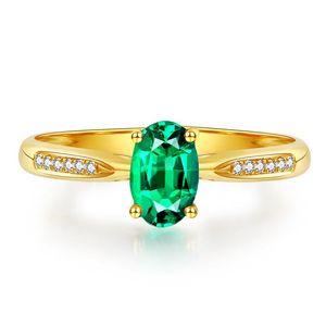 Кластерные кольца 18K Желтый Золотой Зеленый Изумруд для Женщин Простая Европа S925 Серебряный Цвет Цветные Драгоценные камня Циркон Регулируемое Обручальное кольцо Ювелирные Изделия