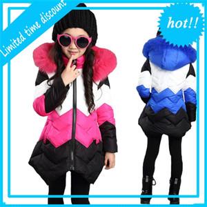 GWHFL Coreano Estilo Crianças Quente Meninas Princesa Princesa Patchwork Bontkraag Inverno Jas 2 Color Vestido Superior