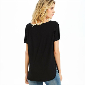 Womens Vee Neck T Shirts Ladies Plain Top Tee Short Sleeve Solid Basic Loose Cotton Casual