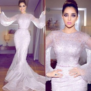 2021 Newest Arabic Mermaid Formal Dresses Evening Wear Long Sleeve Full Lace Pearls Prom Gowns Plus Size Prom Dresses Long