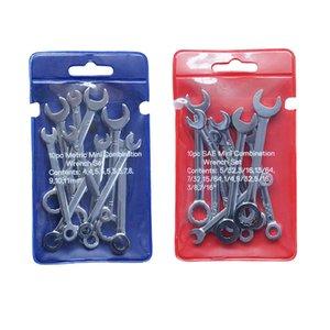 10pcs Mini llave inglesa llaves Conjunto Clave Llave de anillo a prueba de explosiones de bolsillo británico / métrico Tipo Llaves Inicio de reparación Combinación