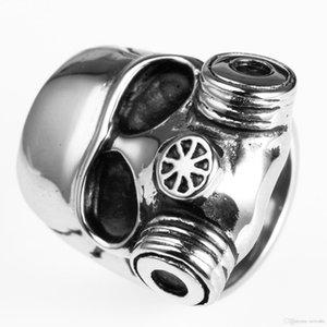 Men '; S in acciaio inox retrò fresco di scheletro del cranio maschera antigas anello con In Design unico Avivahc 14