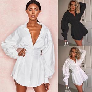 Горячая распродажа - женская осень с длинным рукавом сплошной рубашка отворота мини-платья повседневные свободные топы блузка