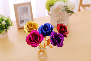 Creative Gifts Lasts Forever Rose Flowers for Lover Wedding Christmas Valentines Mothers Day Decoration 24k Gold Foil Plated Rose DDB453