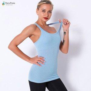 Para Praia Новых спортивной одежды женщин Фитнес Женщина Вязаного Спорт Vest Gym Workout Yoga Long I-образный крючок жилет Женщина
