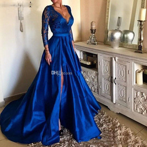Royal Blue Plus Size Prom Dresses V Neck Lace Appliques Long Sleeve Front Split Formal Evening Dresses Party Gowns robes de soiree