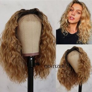 QD-Tizer Blond Pink Color Synthetic Lace Front Wig Ombre Short Loose Curly Hair Front Lace Wigs Heat Resistant fiber