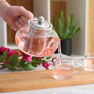 Good Clear Borosilicate Glass Teapot With 304 Stainless Steel Infuser Strainer Heat Resistant Loose Leaf Tea Pot Tool Kettle Set Q1218