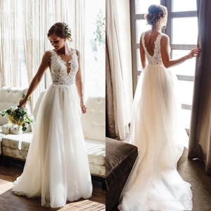 2020 Country V Neck Sleeveless Tulle Wedding Dresses Bohemian A Line Sweep Train Boho Bridal Gowns With Lace