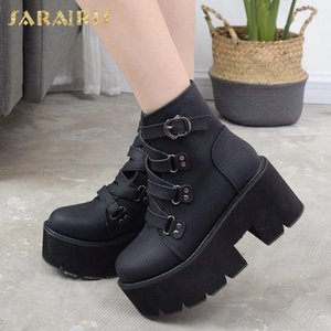 SARAIRIS Top Quality Fashion Winter Shoes Women Cool Platform Chunky Heels Street Ankle Motorcycles Boots Female Footwear