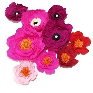 2020 Dev Krep Kağıt Yapay Çiçekler 9PCS İçin Düğün Olay Arka planında Dekor Bebek, Çocuk El Yapımı El Sanatları Özelleştirilmiş
