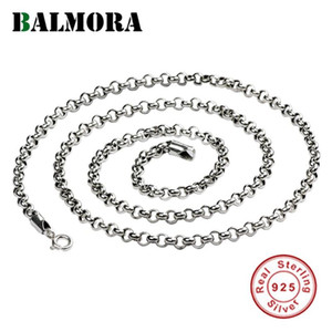 BALMORA Real 925 Sterling Silver Simple Retro Chains Necklaces for Men Women Cool Punk Fashion Accessories 18-32 inch Jewelry