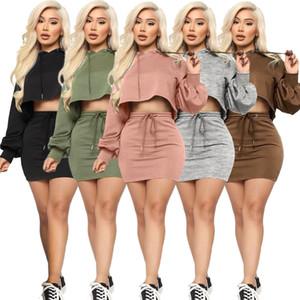 Frauen-Kleid Zwei Stücke Set Nachtclub Sexy Solid Color Bat Laterne Hülse mit Kapuze Strickjacke und Rock anzeigen Taille Bandage Damen Neue Sportwear